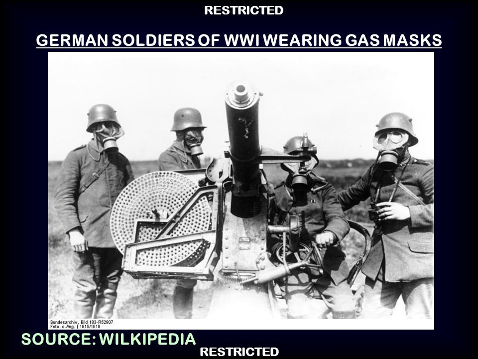 GERMAN SOLDIERS OF WWI WEARING GAS MASKS