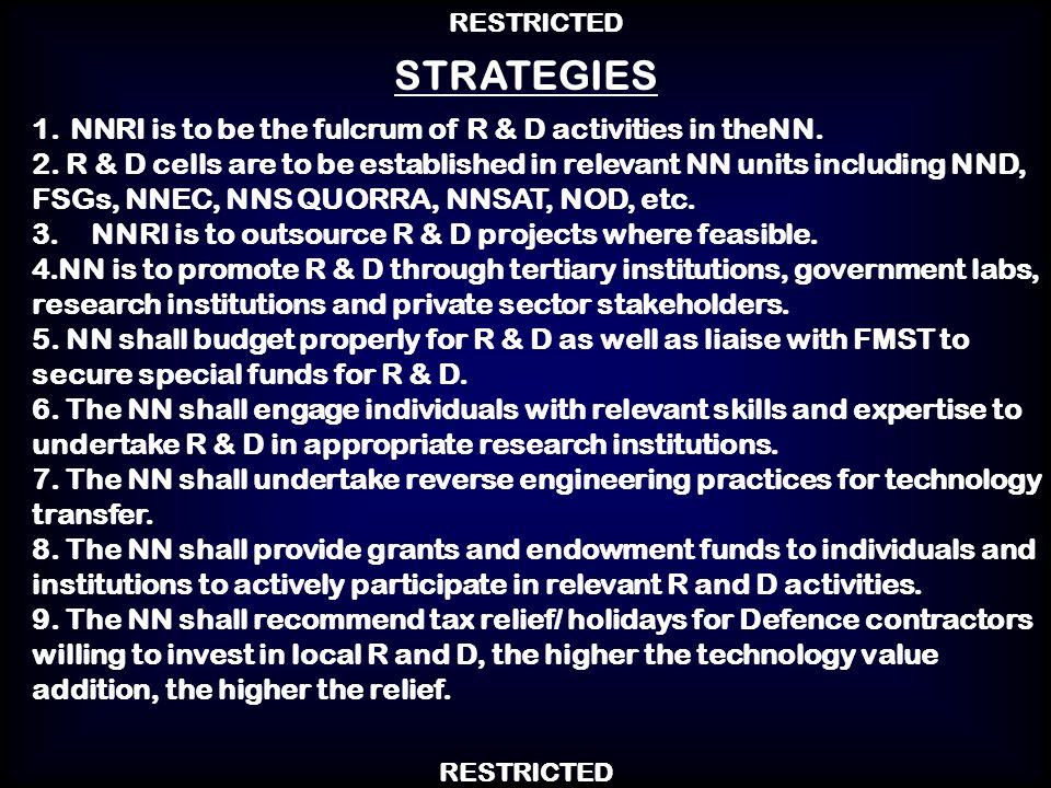 STRATEGIES 1..NNRI is to be the fulcrum of R & D activities in the NN.