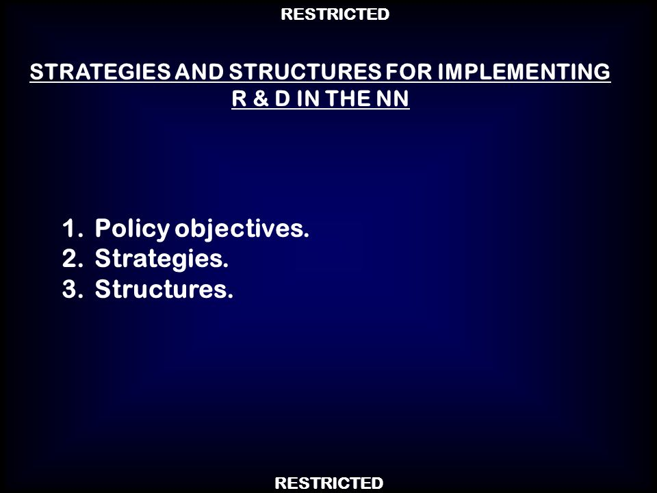 STRATEGIES AND STRUCTURES FOR IMPLEMENTING R & D IN THE NN