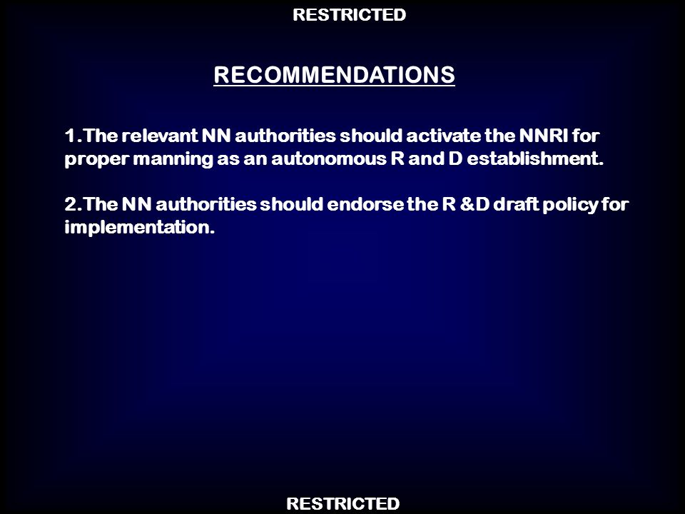 RECOMMENDATIONS1.The relevant NN authorities should activate the NNRI for proper manning as an autonomous R and D establishment.