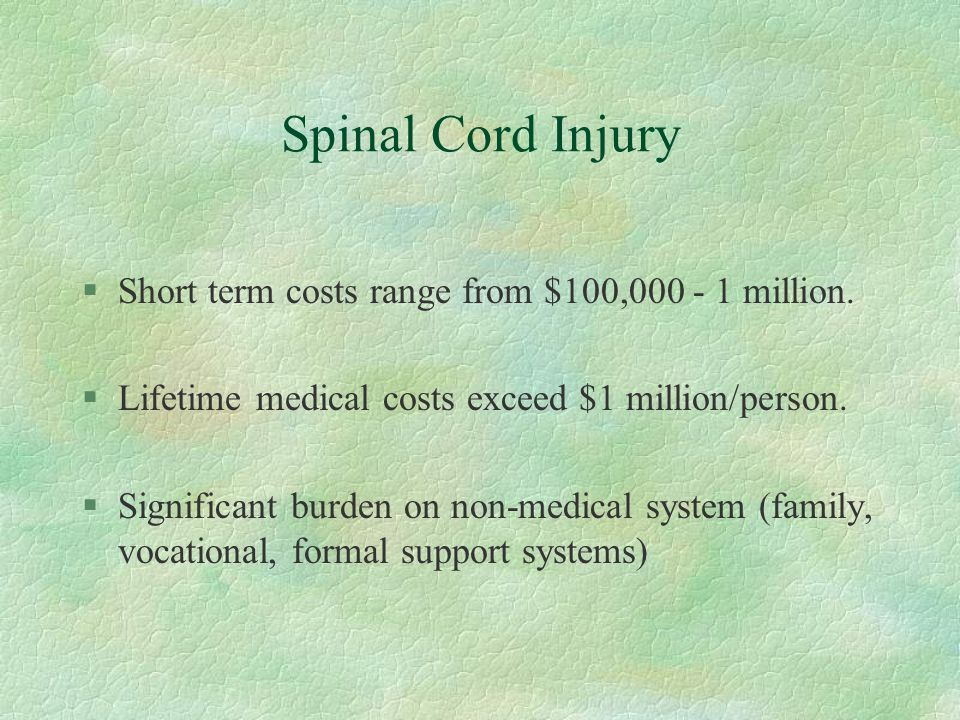 Spinal Cord Injury Short term costs range from $100,000 - 1 million.