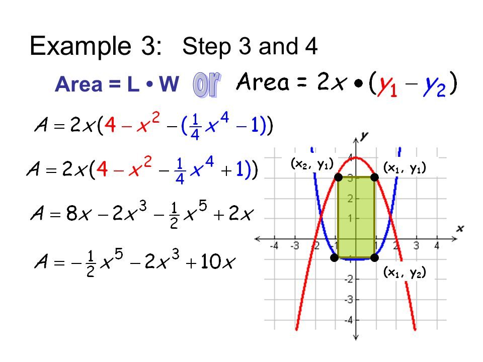 Example 3: Step 3 and 4 Area = L • W or (x2, y1) (x1, y1) (x1, y2)
