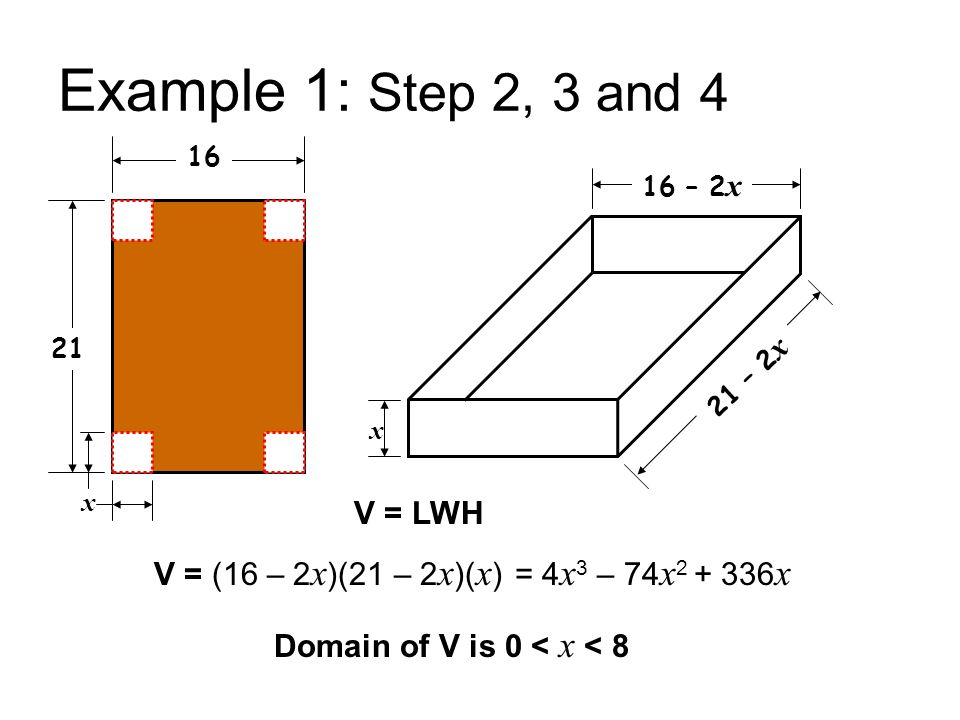 Example 1: Step 2, 3 and 4 V = LWH V = (16 – 2x)(21 – 2x)(x)