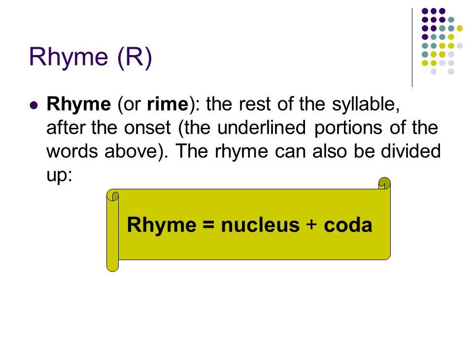 Rhyme (R) Rhyme = nucleus + coda