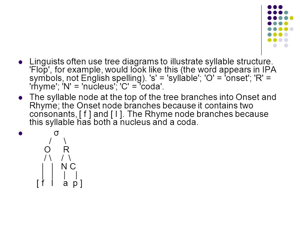 Linguists often use tree diagrams to illustrate syllable structure