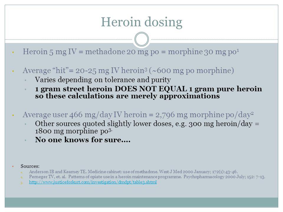 Heroin dosing Heroin 5 mg IV = methadone 20 mg po = morphine 30 mg po1