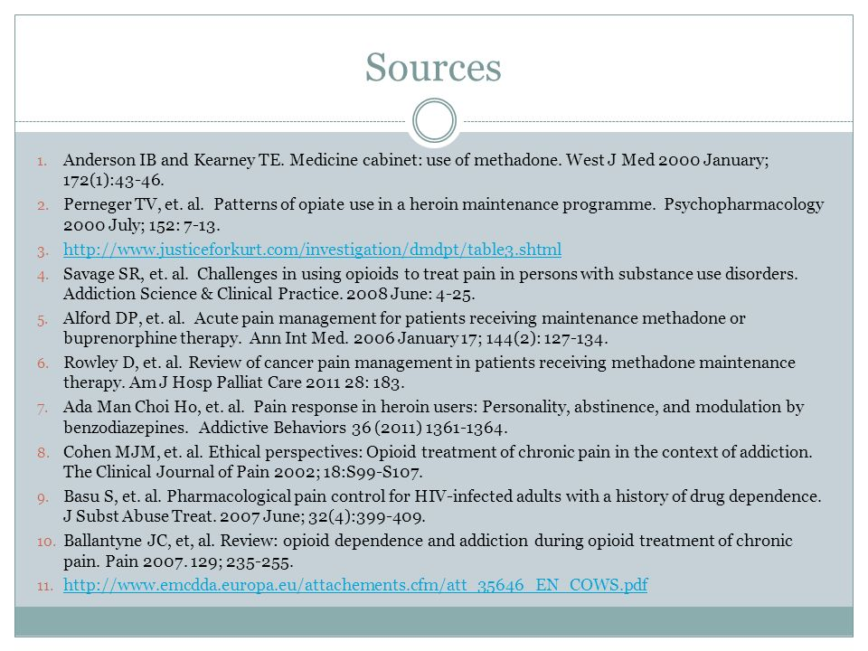 Sources Anderson IB and Kearney TE. Medicine cabinet: use of methadone. West J Med 2000 January; 172(1):