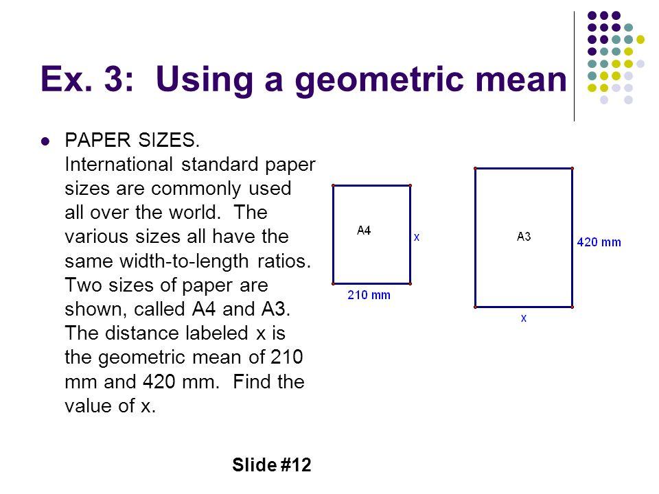 Ex. 3: Using a geometric mean