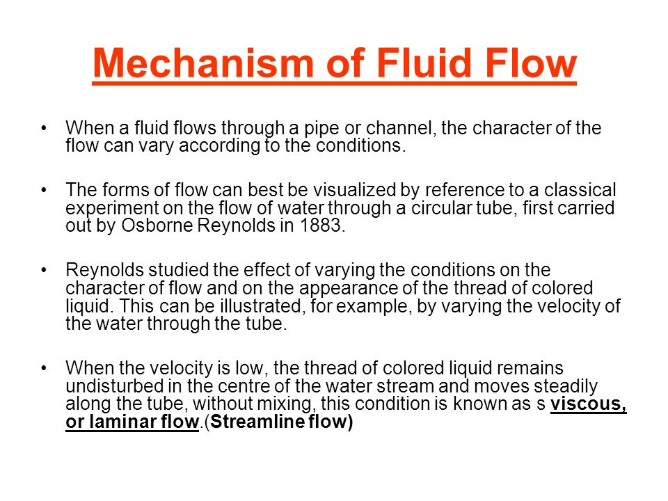 Mechanism of Fluid Flow