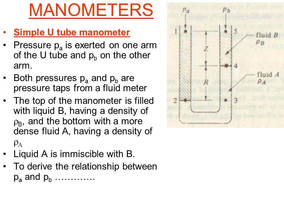 MANOMETERS Simple U tube manometer