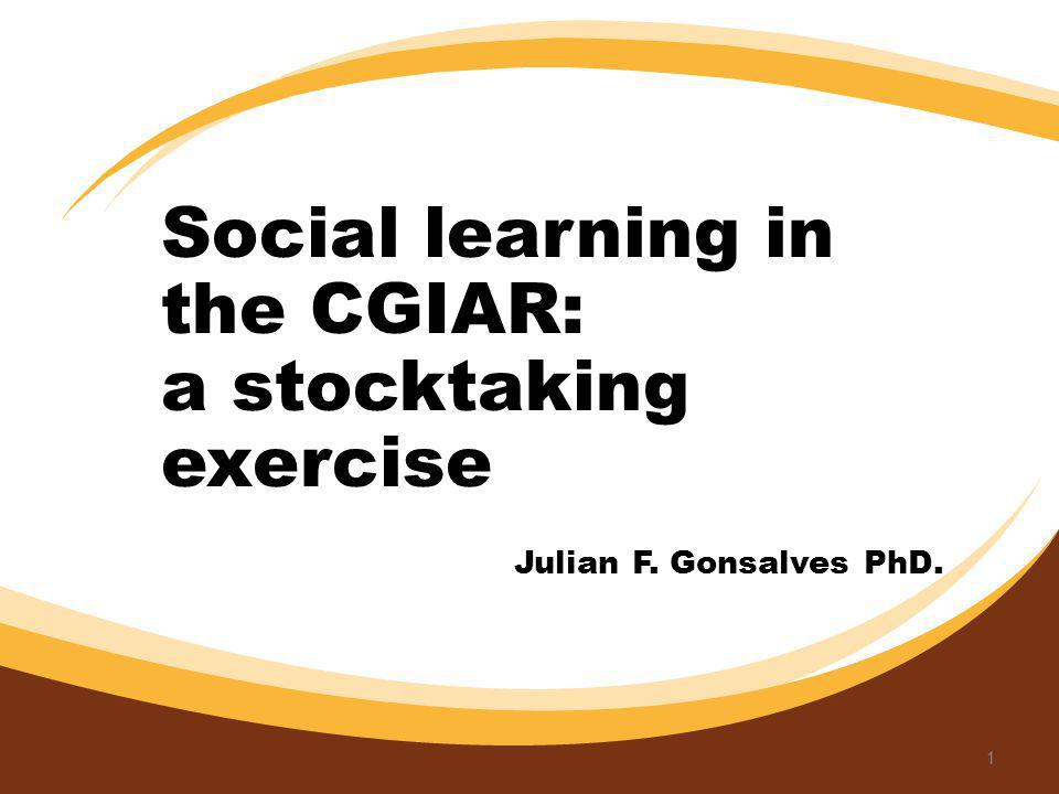 Social learning in the CGIAR: a stocktaking exercise