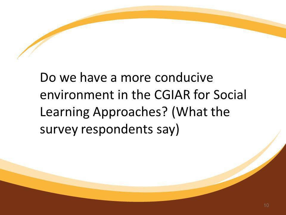 Do we have a more conducive environment in the CGIAR for Social Learning Approaches.