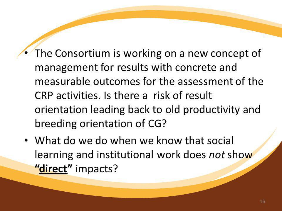 The Consortium is working on a new concept of management for results with concrete and measurable outcomes for the assessment of the CRP activities. Is there a risk of result orientation leading back to old productivity and breeding orientation of CG