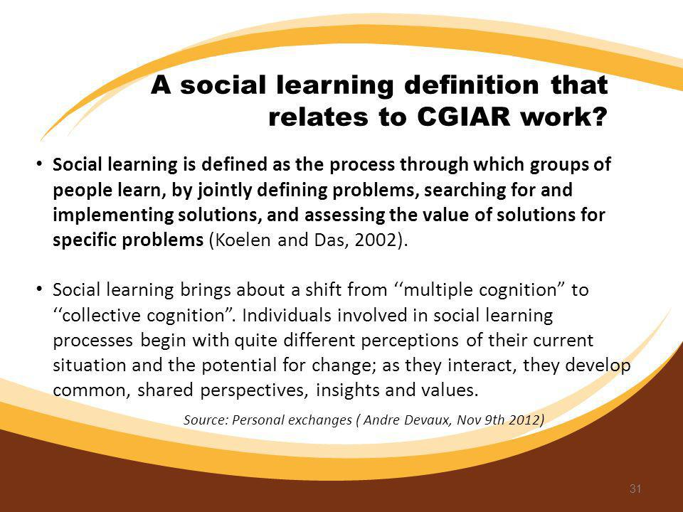 A social learning definition that relates to CGIAR work