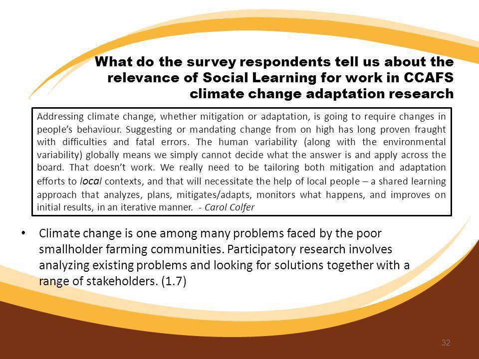 What do the survey respondents tell us about the relevance of Social Learning for work in CCAFS climate change adaptation research