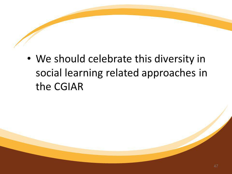 We should celebrate this diversity in social learning related approaches in the CGIAR