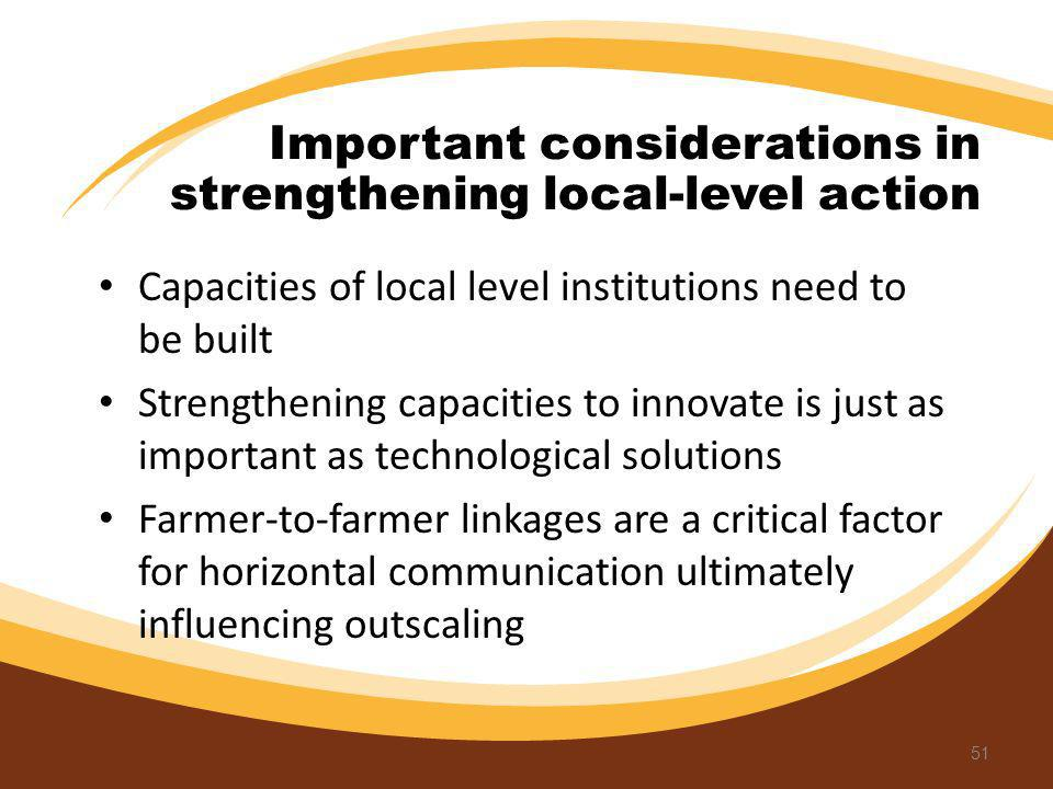 Important considerations in strengthening local-level action