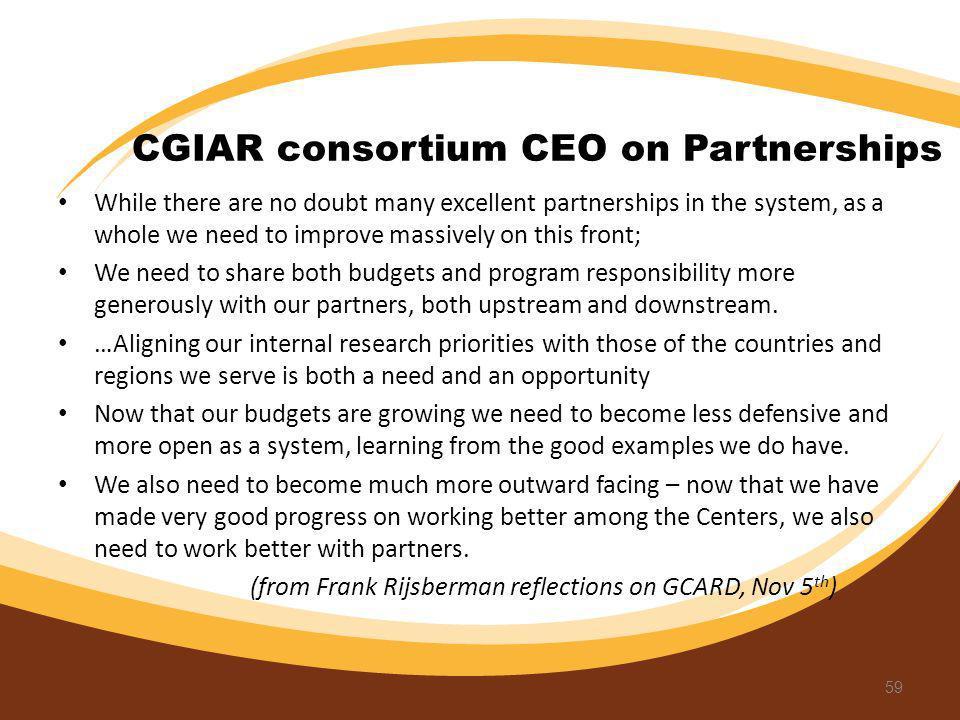 CGIAR consortium CEO on Partnerships