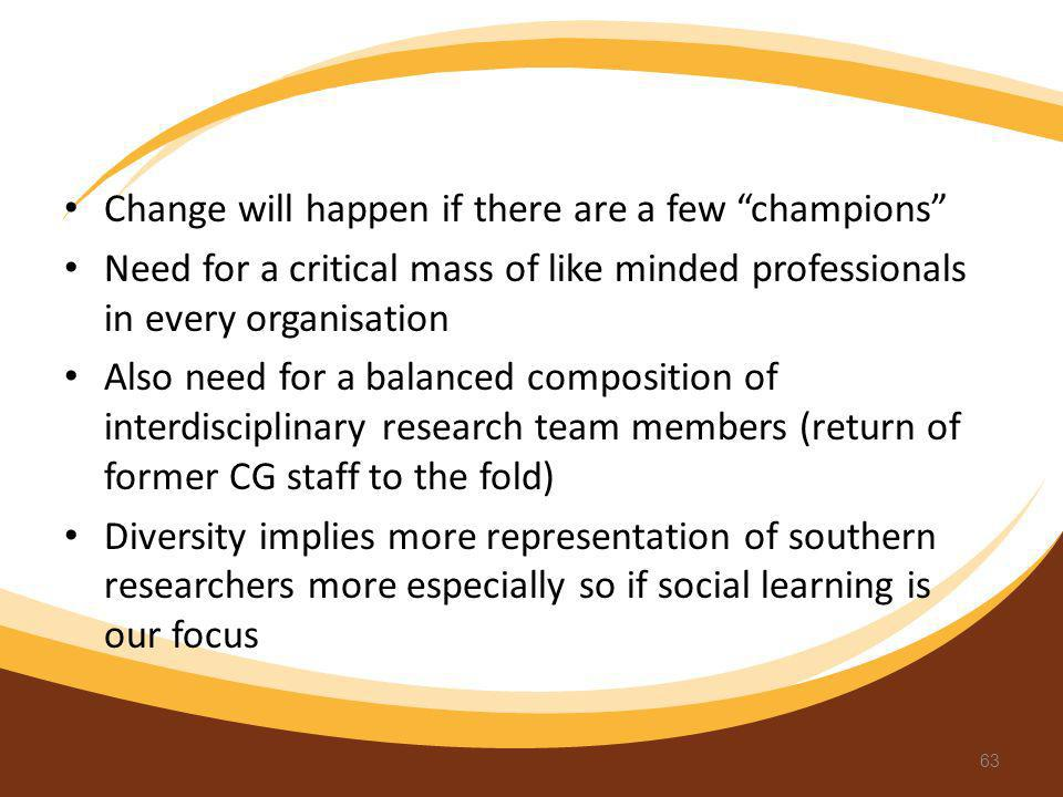 Change will happen if there are a few champions