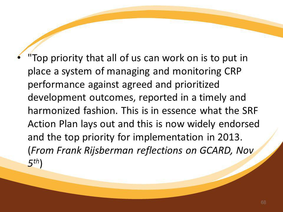 Top priority that all of us can work on is to put in place a system of managing and monitoring CRP performance against agreed and prioritized development outcomes, reported in a timely and harmonized fashion.
