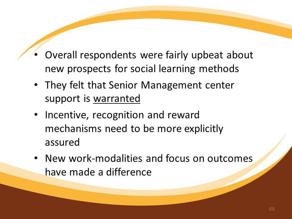 Overall respondents were fairly upbeat about new prospects for social learning methods