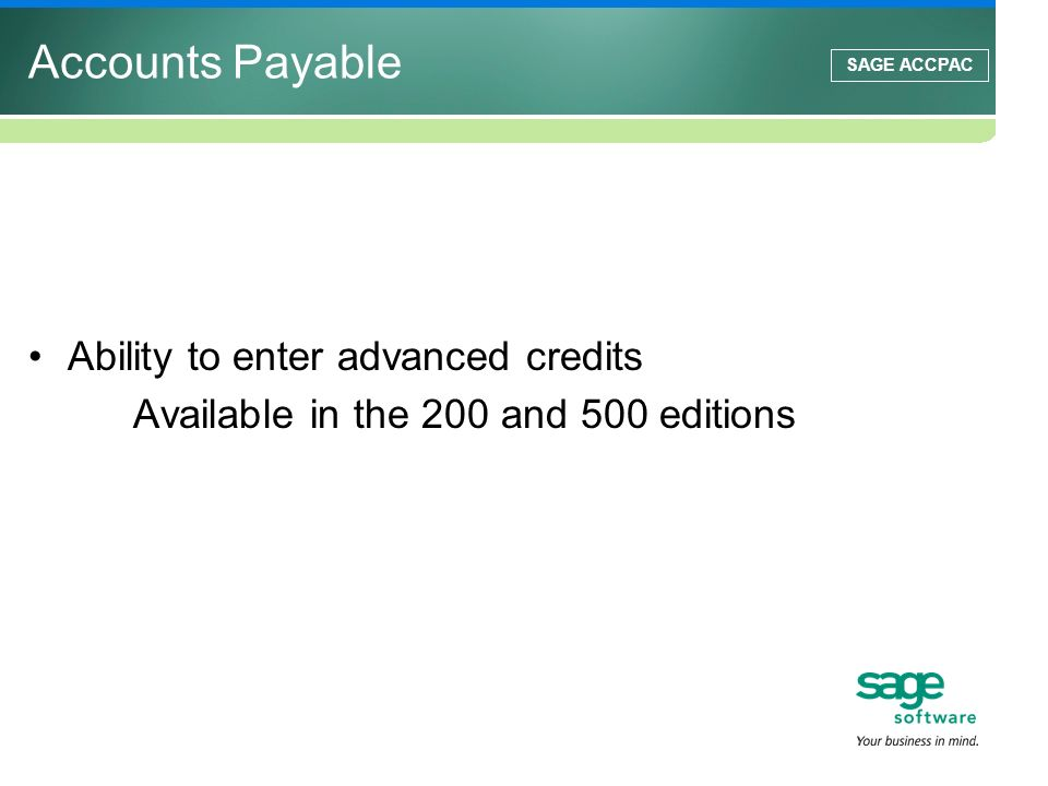 Accounts Payable Ability to enter advanced credits