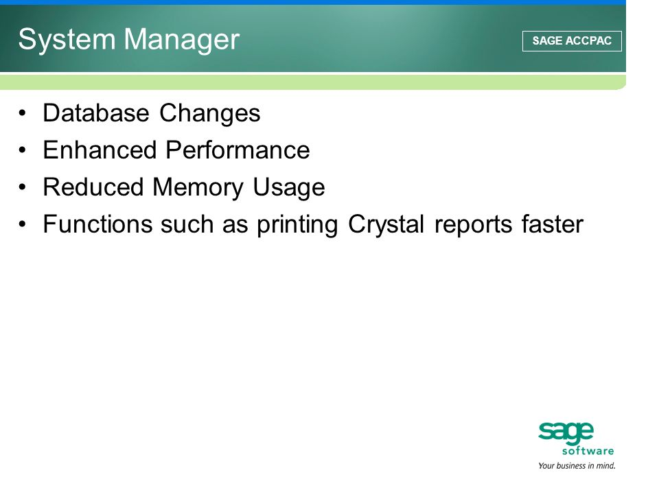 System Manager Database Changes Enhanced Performance
