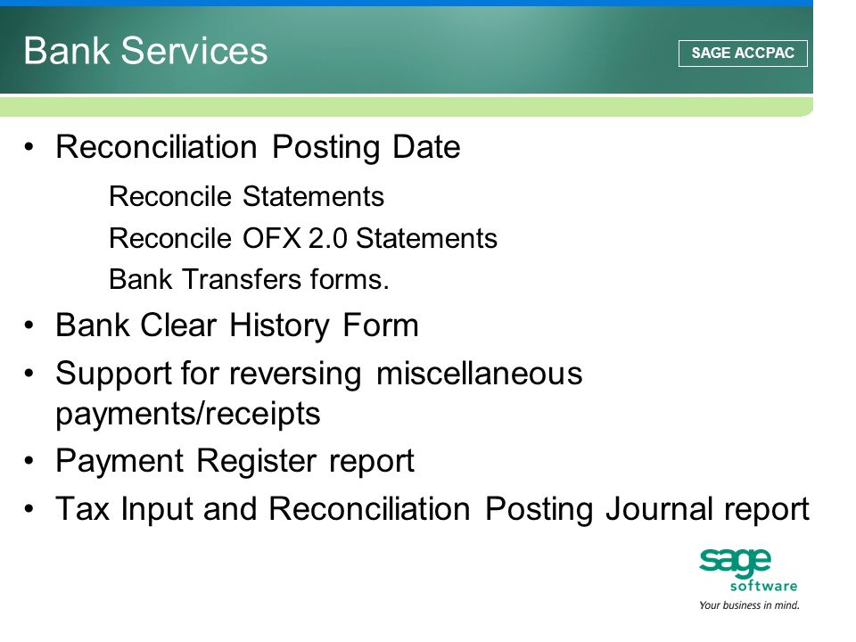 Bank Services Reconciliation Posting Date Reconcile Statements
