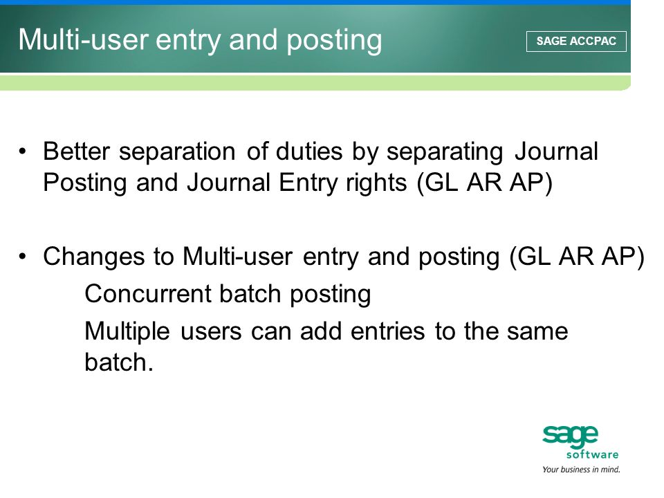 Multi-user entry and posting