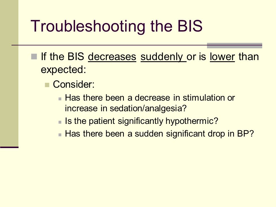 Troubleshooting the BIS