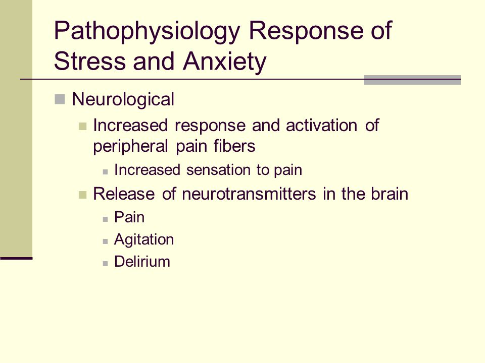 Pathophysiology Response of Stress and Anxiety