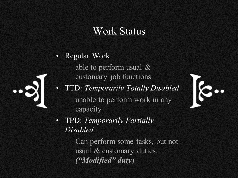 Work Status Regular Work