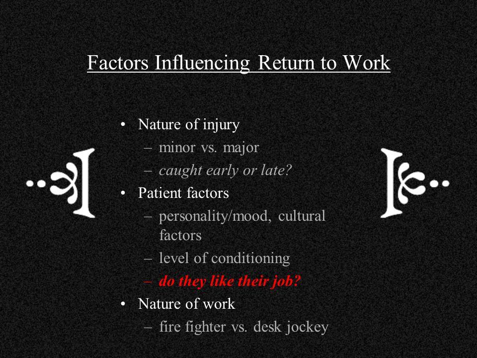 Factors Influencing Return to Work