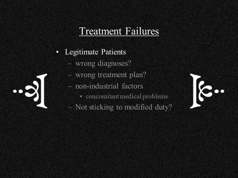 Treatment Failures Legitimate Patients wrong diagnoses