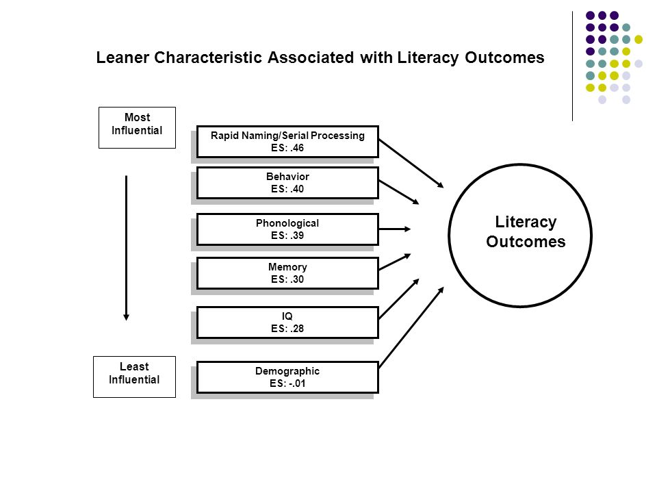 Leaner Characteristic Associated with Literacy Outcomes