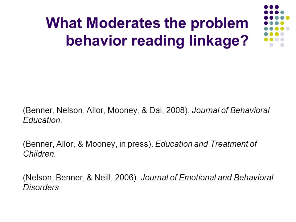 What Moderates the problem behavior reading linkage