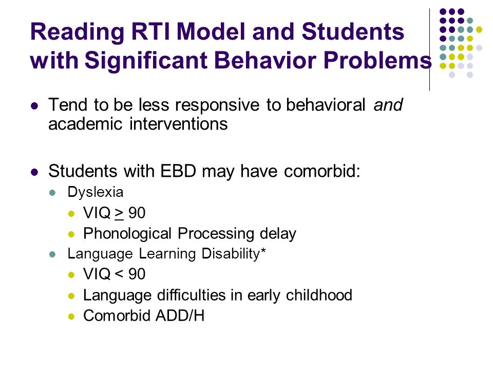 Reading RTI Model and Students with Significant Behavior Problems