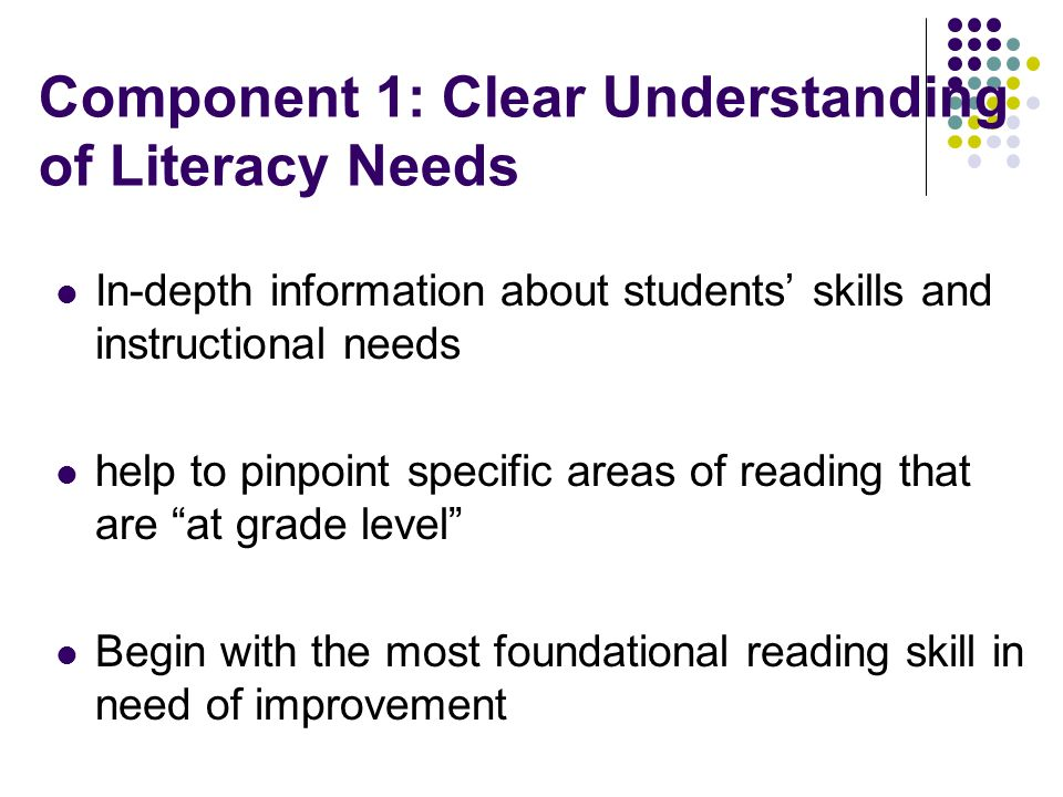 Component 1: Clear Understanding of Literacy Needs
