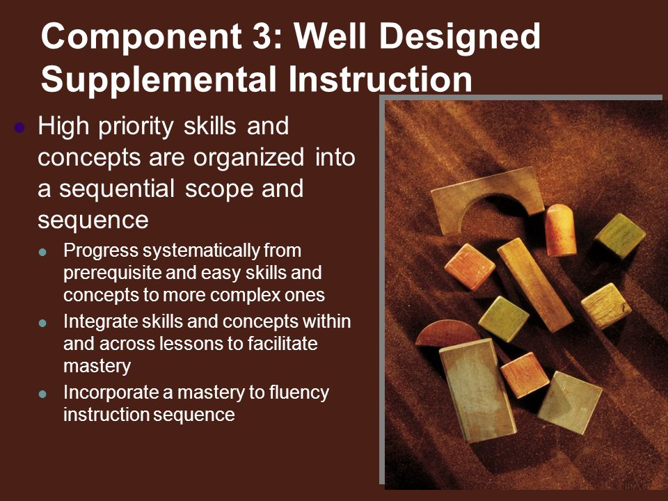 Component 3: Well Designed Supplemental Instruction