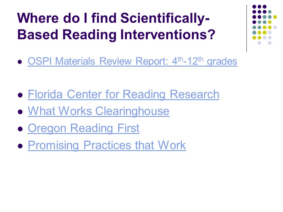 Where do I find Scientifically-Based Reading Interventions