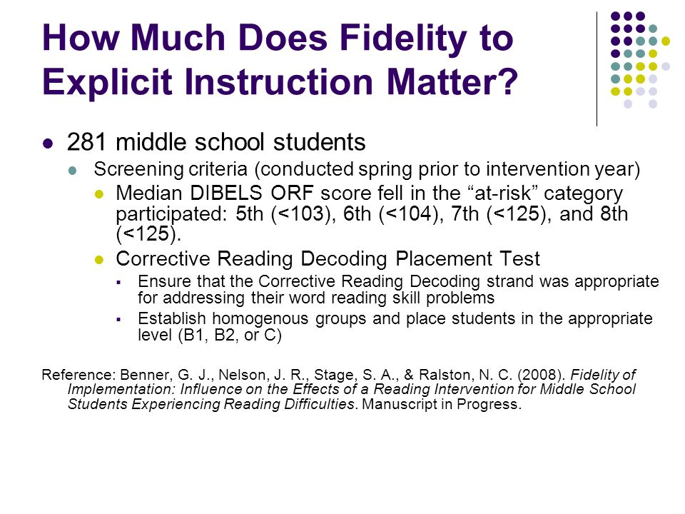 How Much Does Fidelity to Explicit Instruction Matter