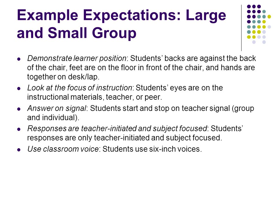 Example Expectations: Large and Small Group