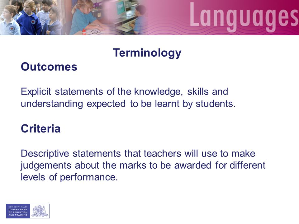 Terminology Outcomes Criteria