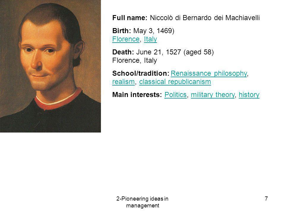 """the machiavellian approach to management Machiavelli is known as """"the father of realpolitik"""" in the prince, a guide for medieval italian princes, he describes the process of gaining and entrenching power while defending against."""