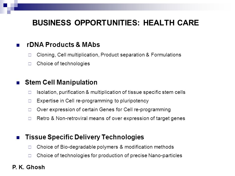 BUSINESS OPPORTUNITIES: HEALTH CARE