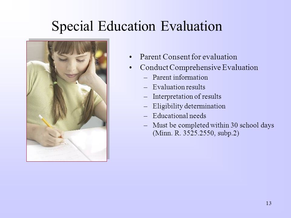 Special Education Evaluation