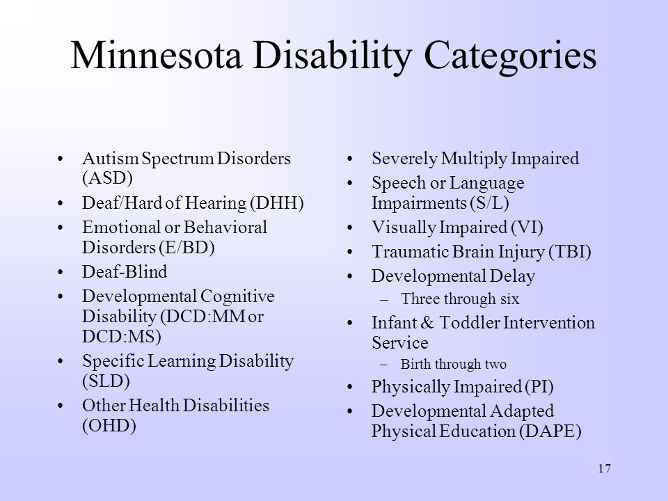 Minnesota Disability Categories