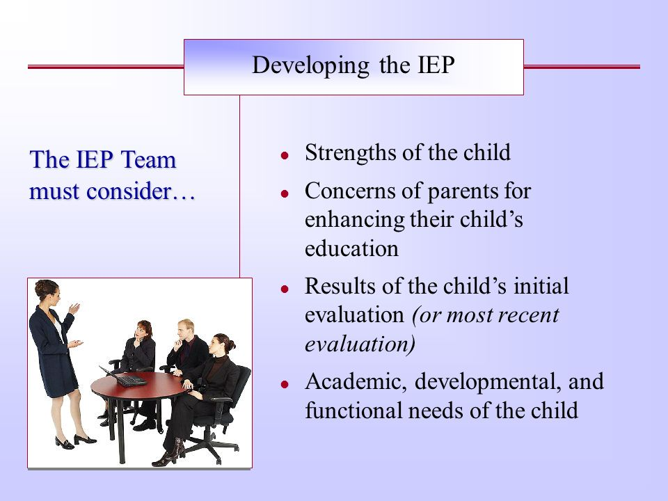 The IEP Team must consider…