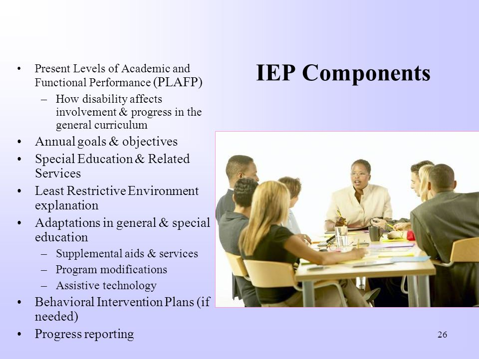 IEP Components Annual goals & objectives