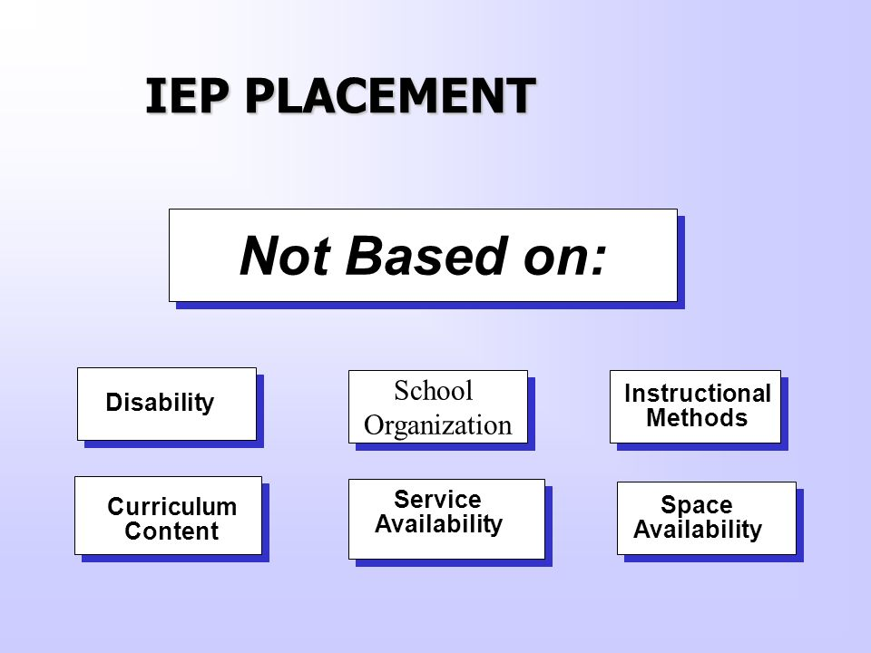 Not Based on: IEP PLACEMENT School Organization Instructional